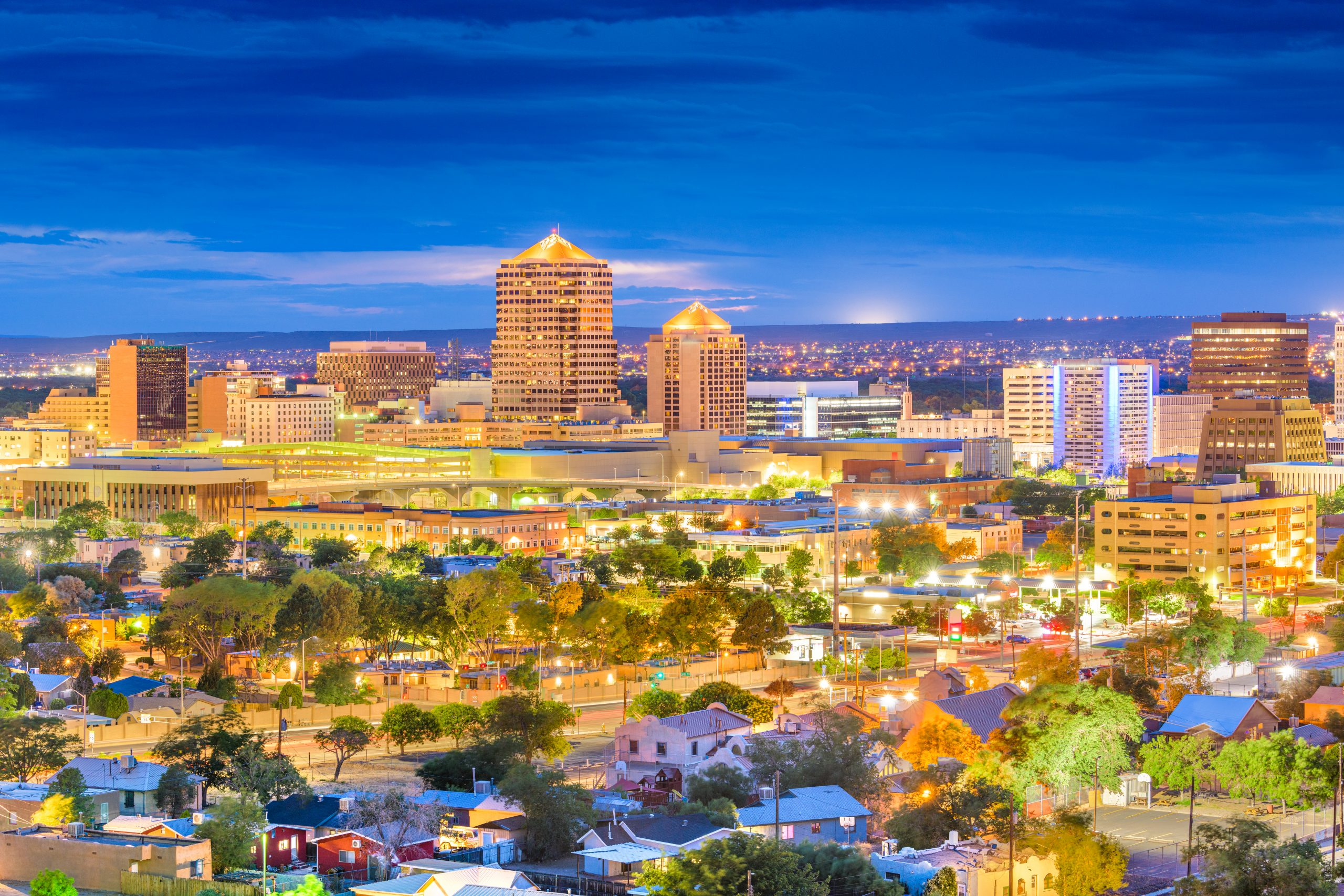 The beautiful Downtown Albuquerque, New, Mexico, skyline captured at twilight.