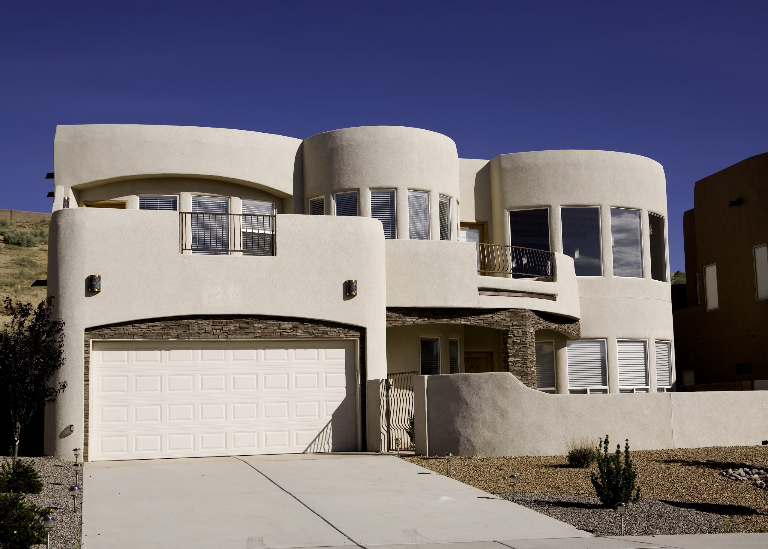 A newer Adobe home located in High Desert, Albuquerque, New Mexico.